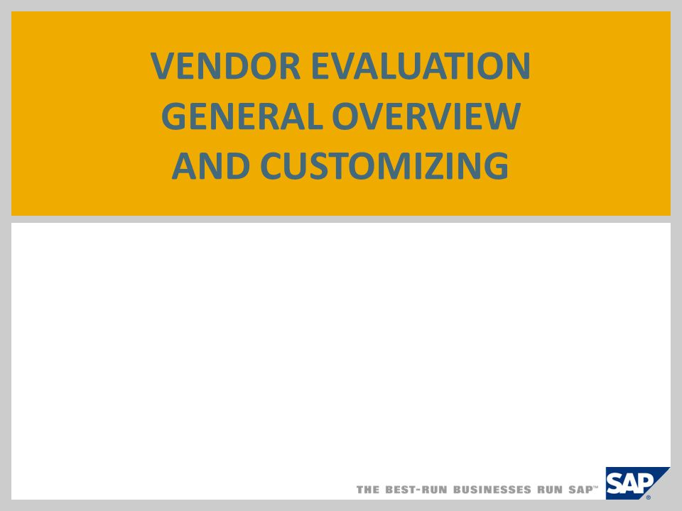 Vendor Evaluation General Overview And Customizing - Ppt Video