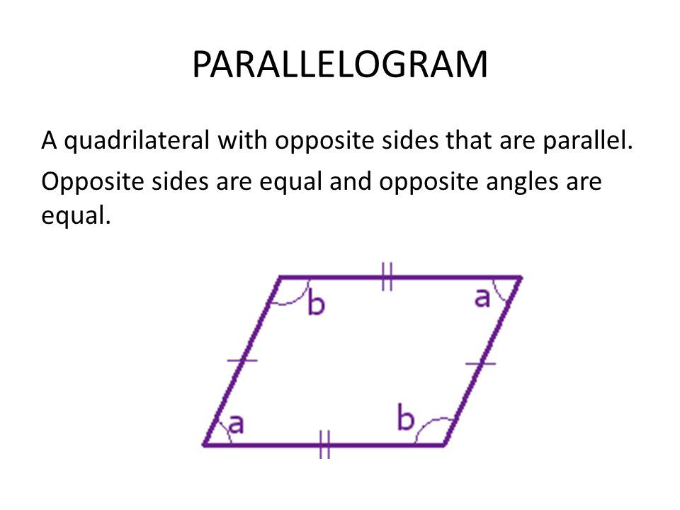 quadrilaterals quadrilateral and parallelogram opposite sides Before i look at the properties let's see where the parallelogram fall in the quadrilateral family a parallelogram  opposite sides are parallel so ma.