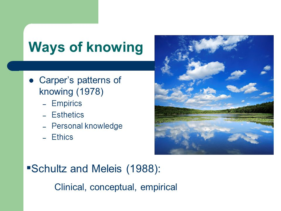 carpers four ways of knowing and Carper s way of knowing has four different elements the ways of knowing are empirics, esthetics, personal knowing, and ethics carper s theory is bringing.