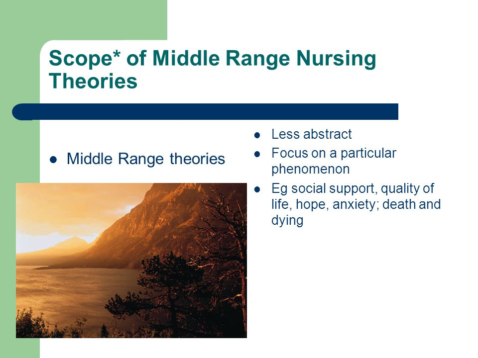 mid range and borrowed theories in nursing Welcome to the nursing theory link page below you will find some of the most used links to information about nursing theorist on the web a strategy and new middle-range theory to support families of intensive care unit patients.