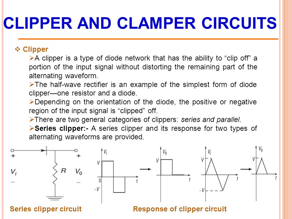 CLIPPER AND CLAMPER CIRCUITS