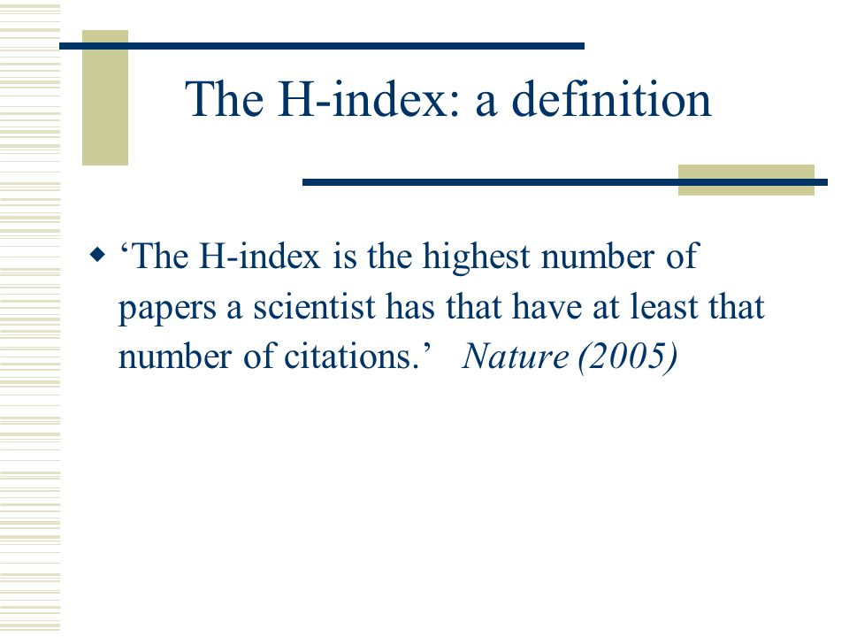 how to find h index of a scientist