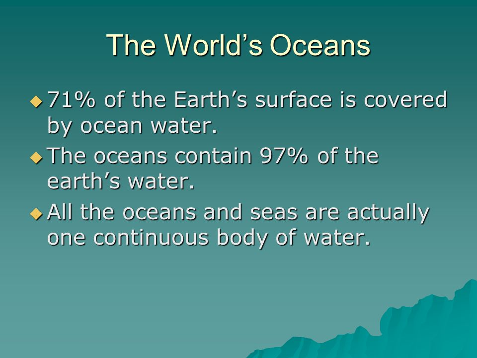 The Worlds Oceans Of The Earths Surface Is Covered By Ocean - All oceans on earth