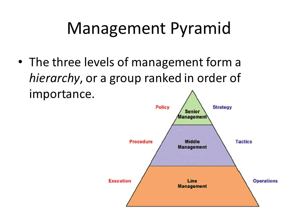 three levels in the hierarchy of business decision makers Three insights arise on how a hierarchy can improve organizational search: (1)   management level, but it matters at the front line front-line groups should be kept  small these results  organizational search: centralized decision making at.