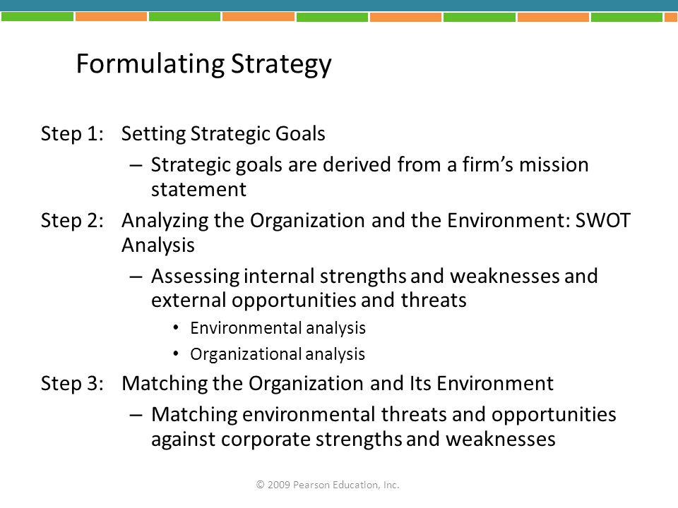 steps in formulating business strategy In other words, it needs a strategic plan simply put, a strategic plan is a vision of  your organization's future and the basic steps required to achieve that future.