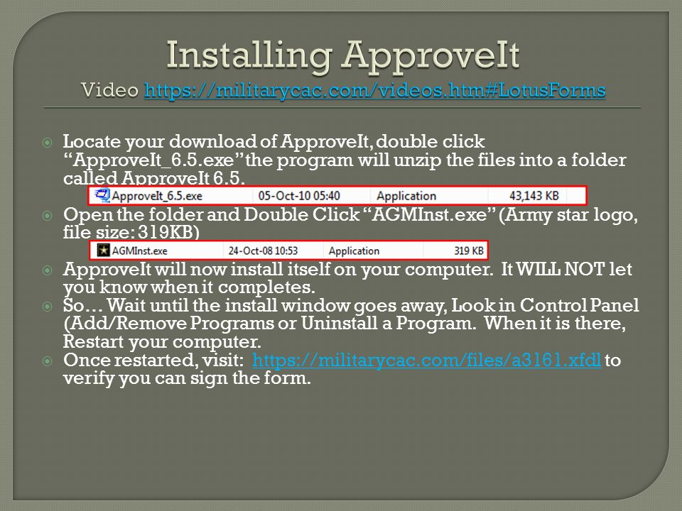 Installing ApproveIt Video https://militarycac. com/videos