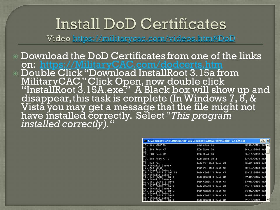 Install DoD Certificates Video