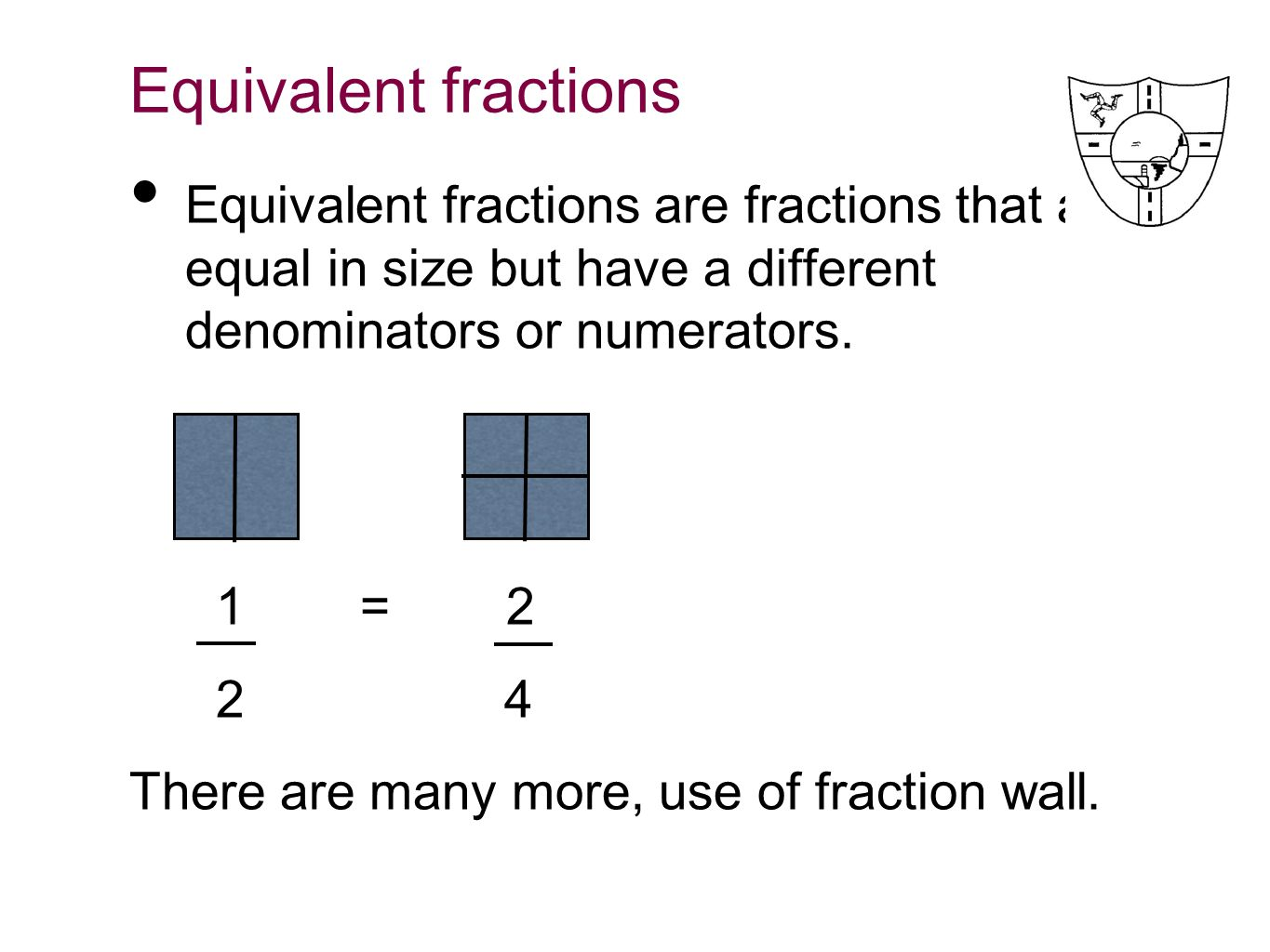 Equivalent fractions to 2/4