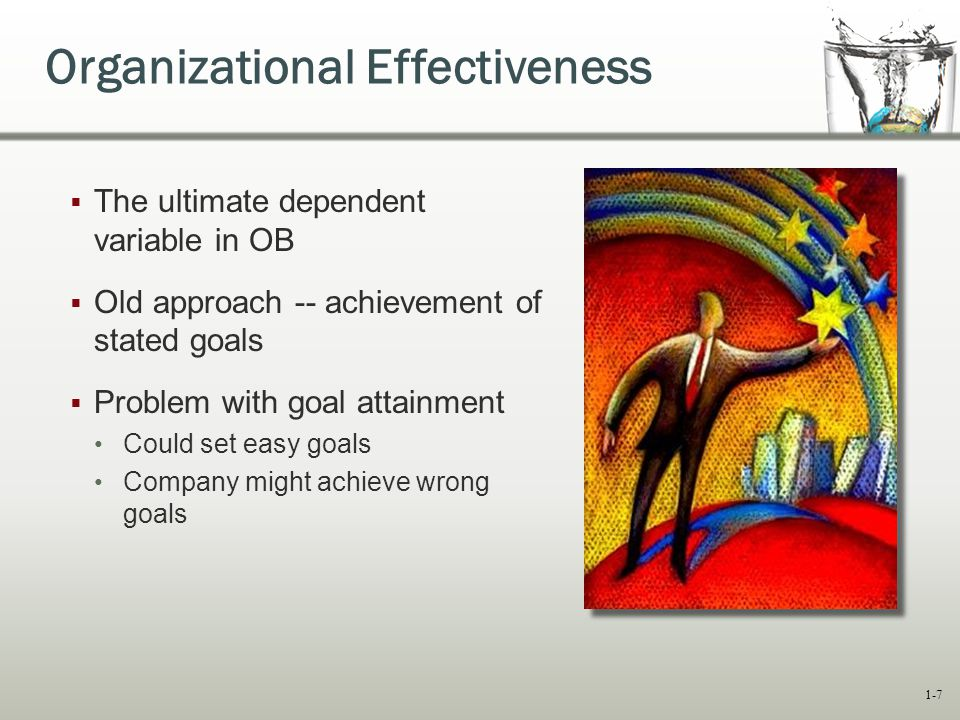 organizational effectiveness - goal attainment model Organizational goals (miles, 1980) but like goal based models, relevant systems and key processes within the  and created a spatial model of organizational effectiveness with three subordinate value continua: flexibility-control, internal-external, and means-end later, quinn (1988.