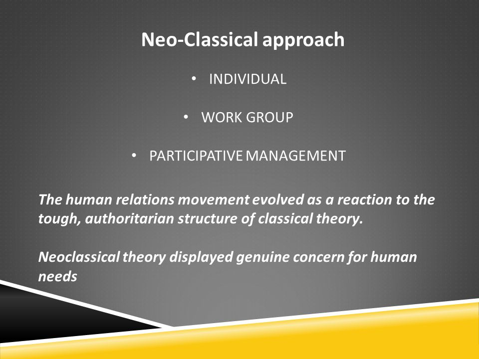 an introduction to the neo classical theory 1 introduction economics is the study of exchange between goods and services however, many people do not know about the development of modern economics and what neoclassical economics is.