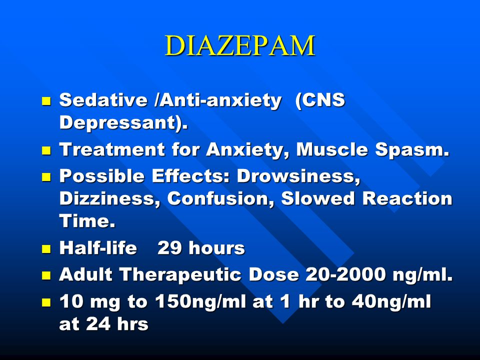 diazepam not working for anxiety