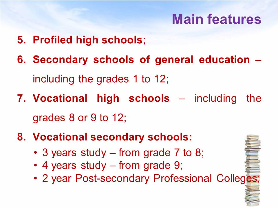 Main features Profiled high schools;