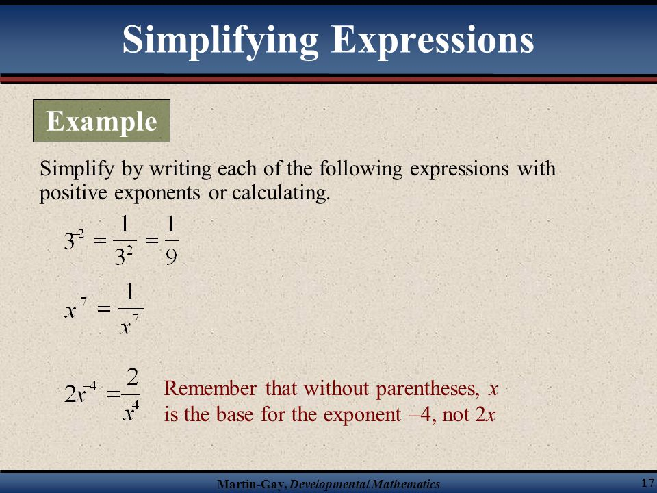 exponents and polynomials