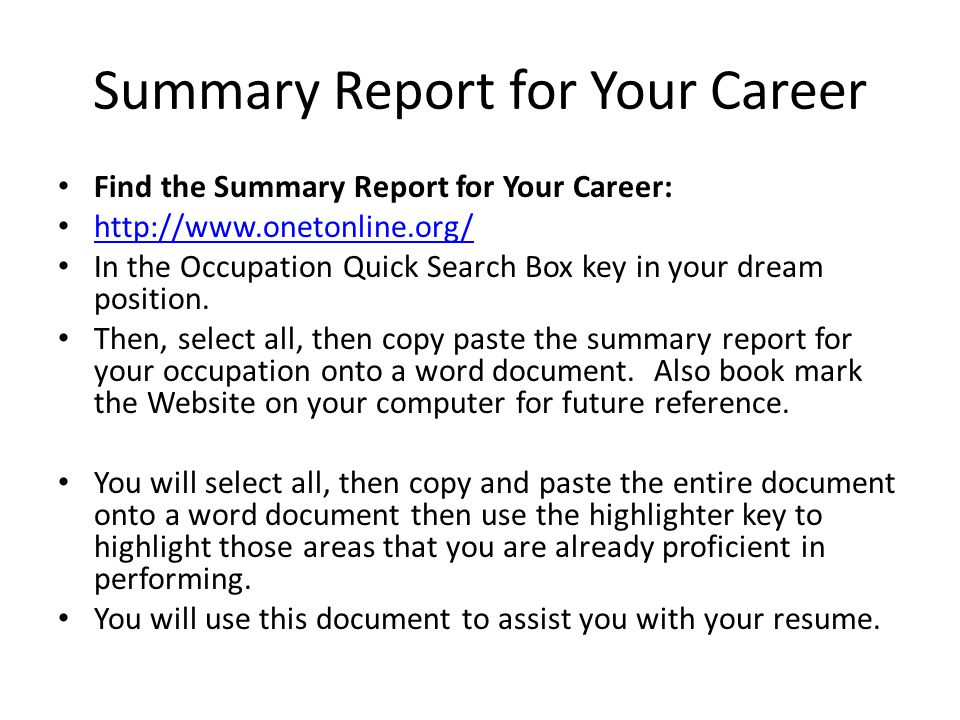 Professional Summary Report