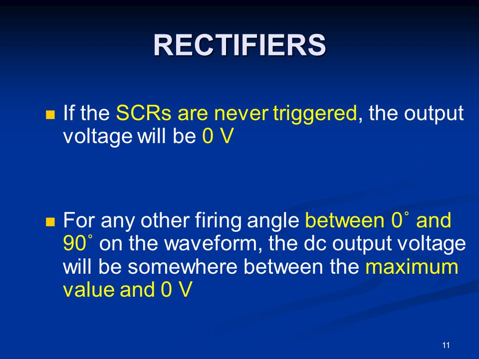 RECTIFIERS If the SCRs are never triggered, the output voltage will be 0 V.