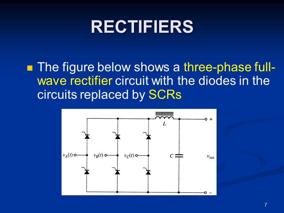 RECTIFIERS The figure below shows a three-phase full-wave rectifier circuit with the diodes in the circuits replaced by SCRs.
