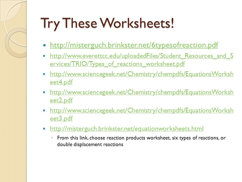 Types of Chemical Reactions ppt download – Six Types of Chemical Reactions Worksheet