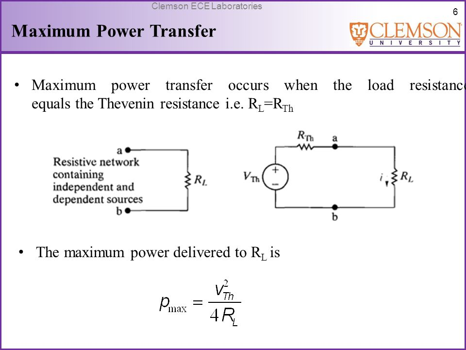maximum power transfer Maximum power transfer theorem can be stated as – a resistive load, being  connected to a dc network, receives maximum power when the.