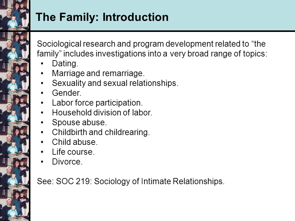 introduction to family and relationship issues