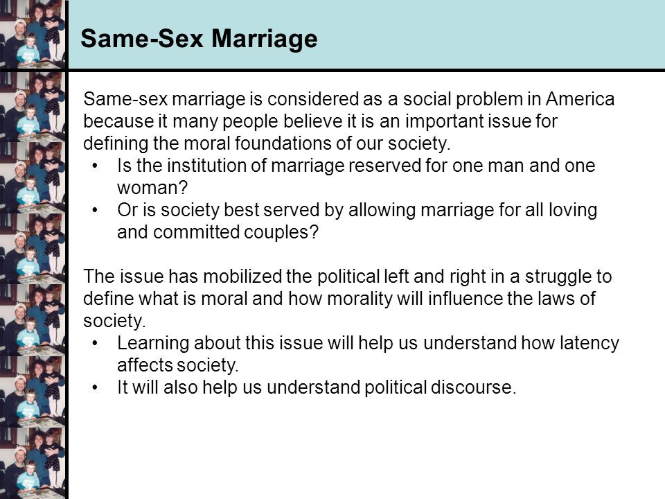 the moral permissibility of same sex But our cultural view of premarital sex as morally tainted makes it harder for couples to engage in real talks about their sexual needs and desires before marrying, the same way they would talk.