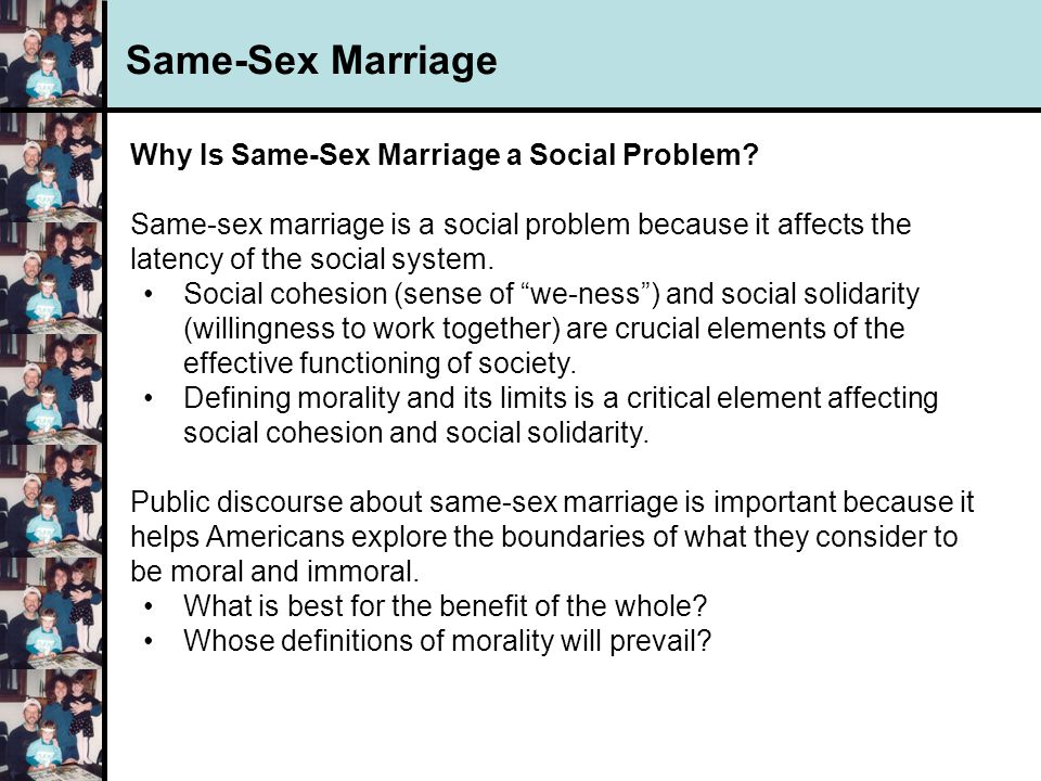 Morality and same sex marriage