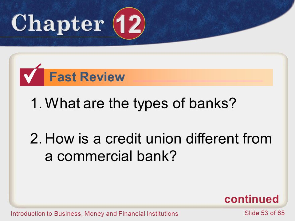 What are the types of banks