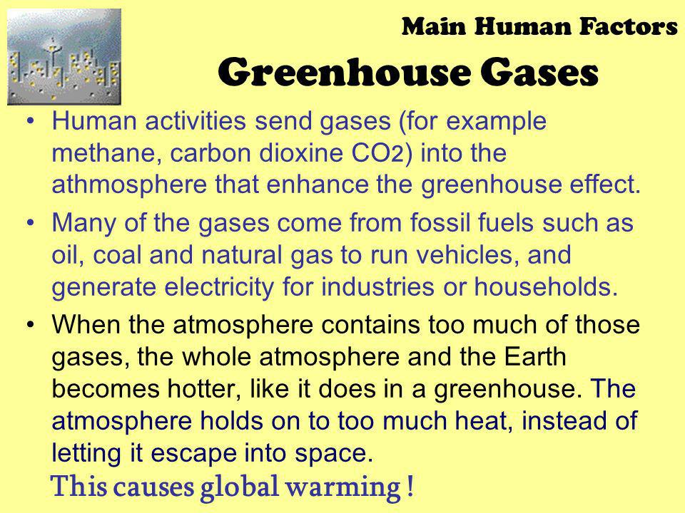 Greenhouse Gases This causes global warming ! Main Human Factors