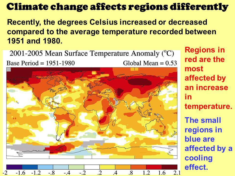 Climate change affects regions differently