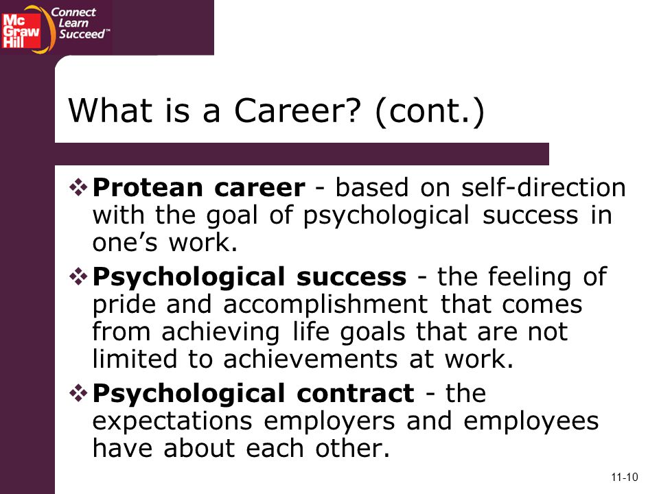 What is a Career (cont.) Protean career - based on self-direction with the goal of psychological success in one's work.
