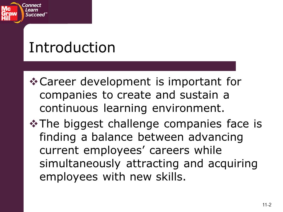 Introduction Career development is important for companies to create and sustain a continuous learning environment.