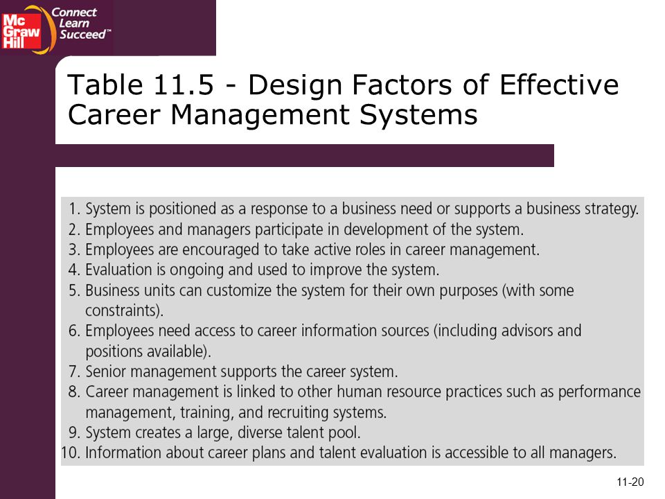 Table Design Factors of Effective Career Management Systems