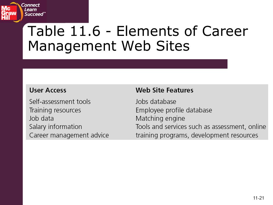 Table Elements of Career Management Web Sites