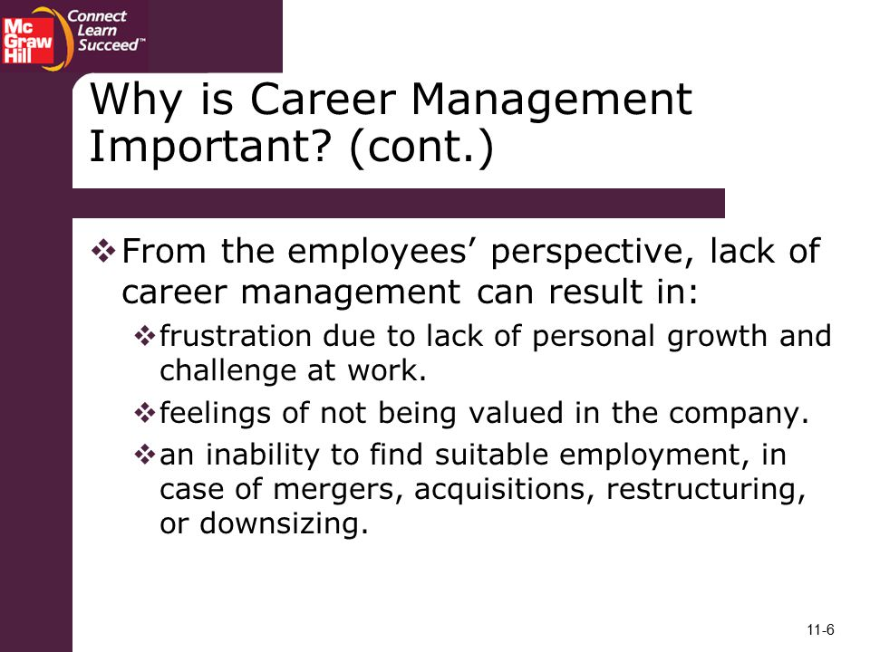 Why is Career Management Important (cont.)