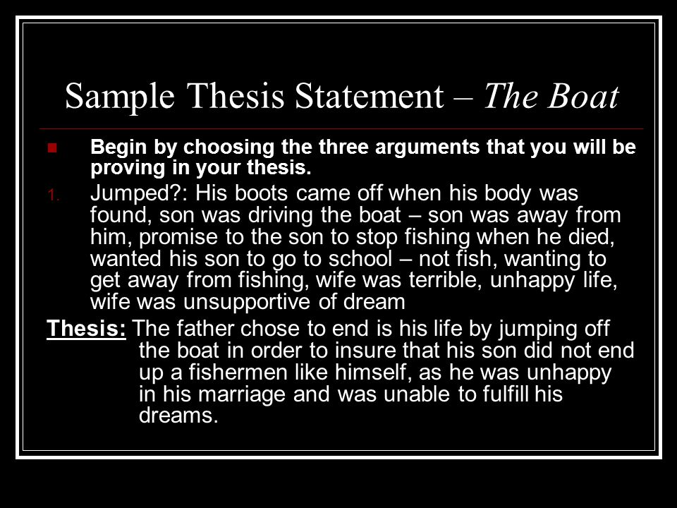 fishing thesis statements Writing essays for discovery - thesis statements get link facebook an irish fishing film thesis statements.