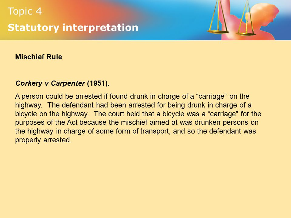 corkery v carpenter 1951 Corkery v carpenter (1951) in 1951 shane corkery was sentenced to one month's imprisonment for being drunk in charge of a bicycle in public at about 245 pm on 18.