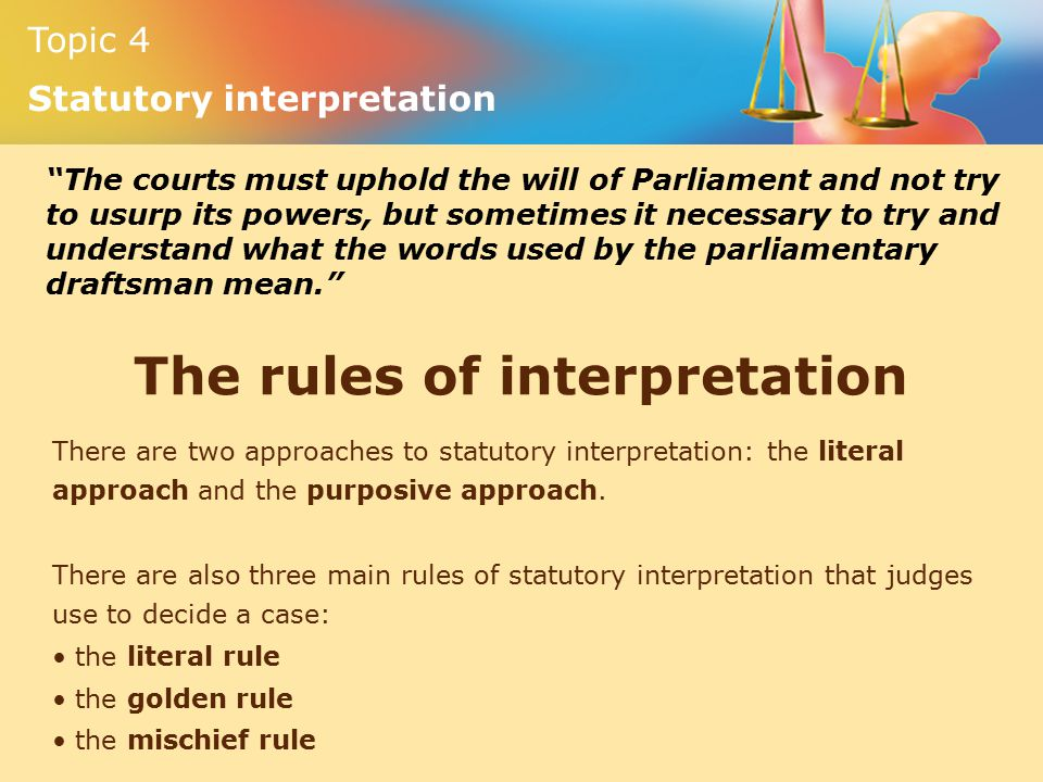 rules of statutory interpretation Statutory interpretation's wiki: statutory interpretation is the process by which courts interpret and apply legislation some amount of interpretation is often necessary when a case.