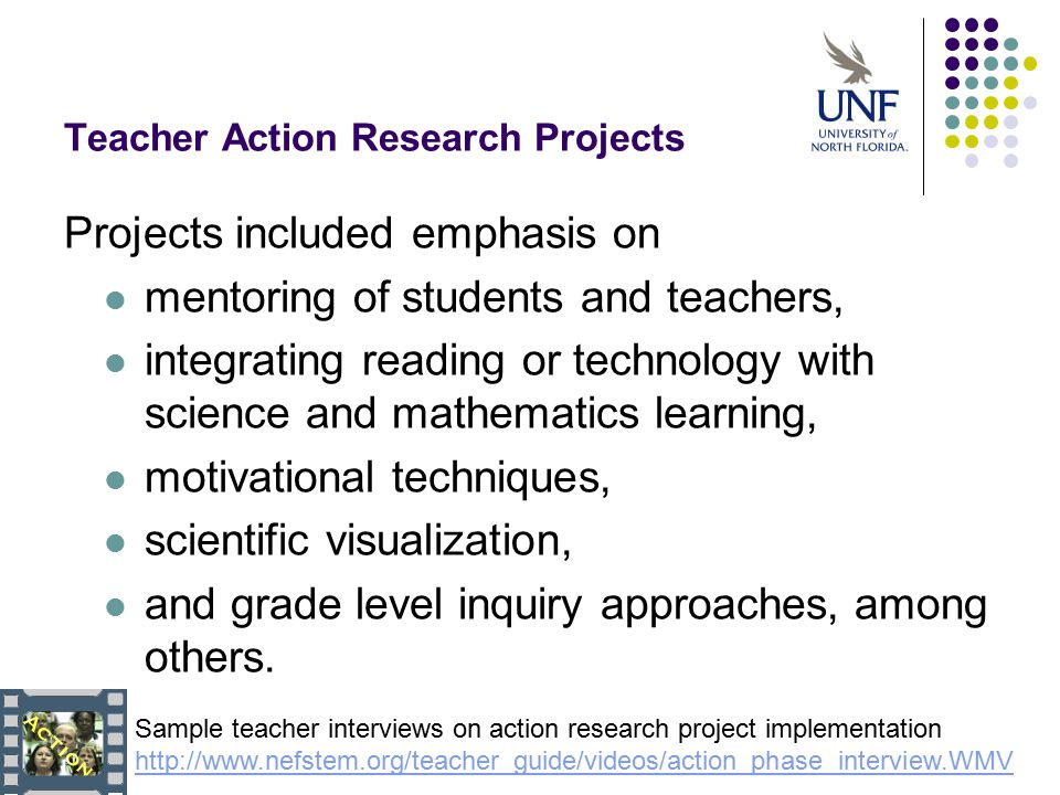 sample action research projects A sample research proposal with comments a research project or thesis will take at least two semesters to complete prior to starting a research, ie.