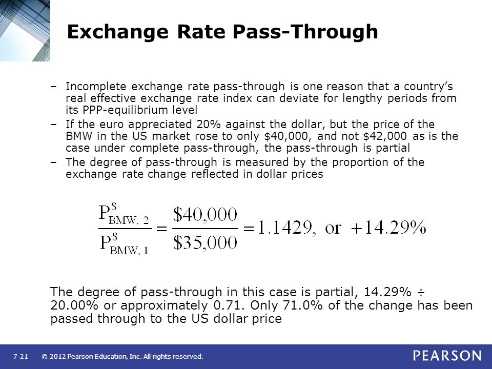exchange rate pass through Exchange rate pass-through (erpt) refers to the degree to which a country's prices change in response to a change in its exchange rate the original definition referred to.