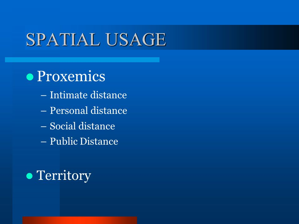 SPATIAL USAGE Proxemics Territory Intimate distance Personal distance