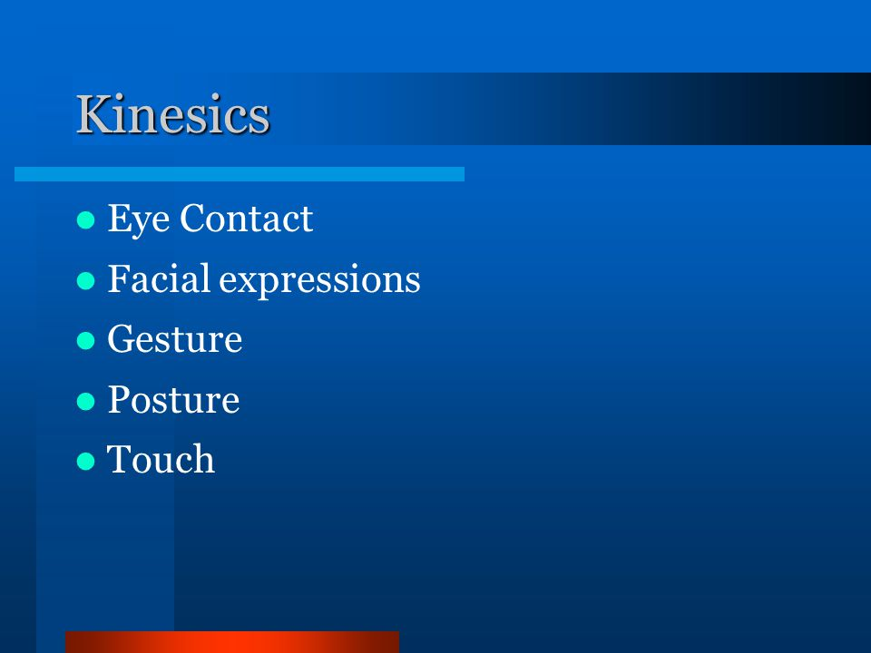 Kinesics Eye Contact Facial expressions Gesture Posture Touch