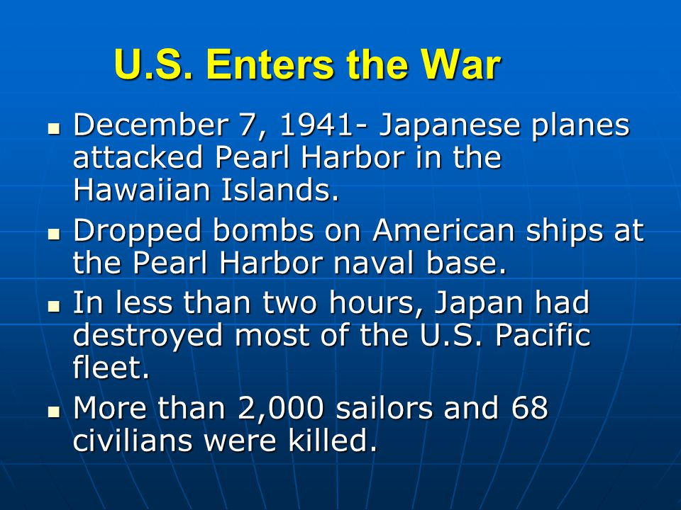 the reasons why united states was attacked at pearl harbor in 1941 Unit 8 wwii study play the kellogg-briand treaty (1928) was a failed attempt for nations of the world to  the united states entered wwii in december of 1941 because of attacks on which territory hawaii  which of these is the best reason as to why the japanese attacked pearl harbor in 1941 japan hoped to destroy the us's will and.