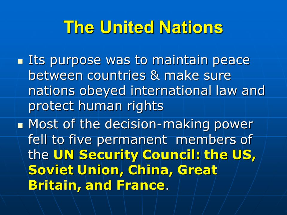 peace human rights and united nations The united nations (un) is an its objectives include maintaining international peace and security, promoting human rights, fostering social and economic development, protecting the environment, and providing humanitarian aid in cases of famine.