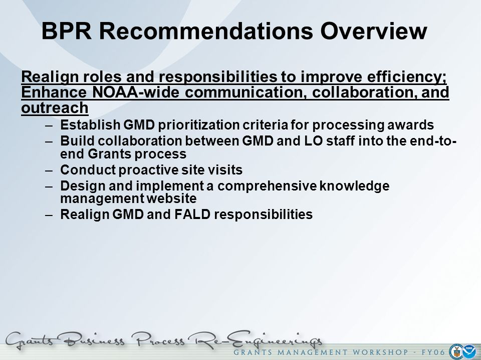 BPR Recommendations Overview