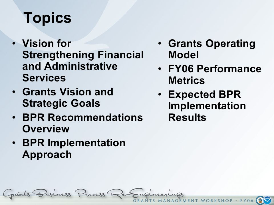 Topics Vision for Strengthening Financial and Administrative Services