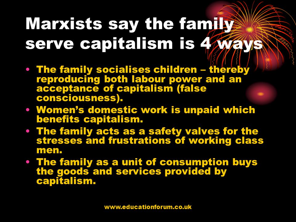Marxists say the family serve capitalism is 4 ways