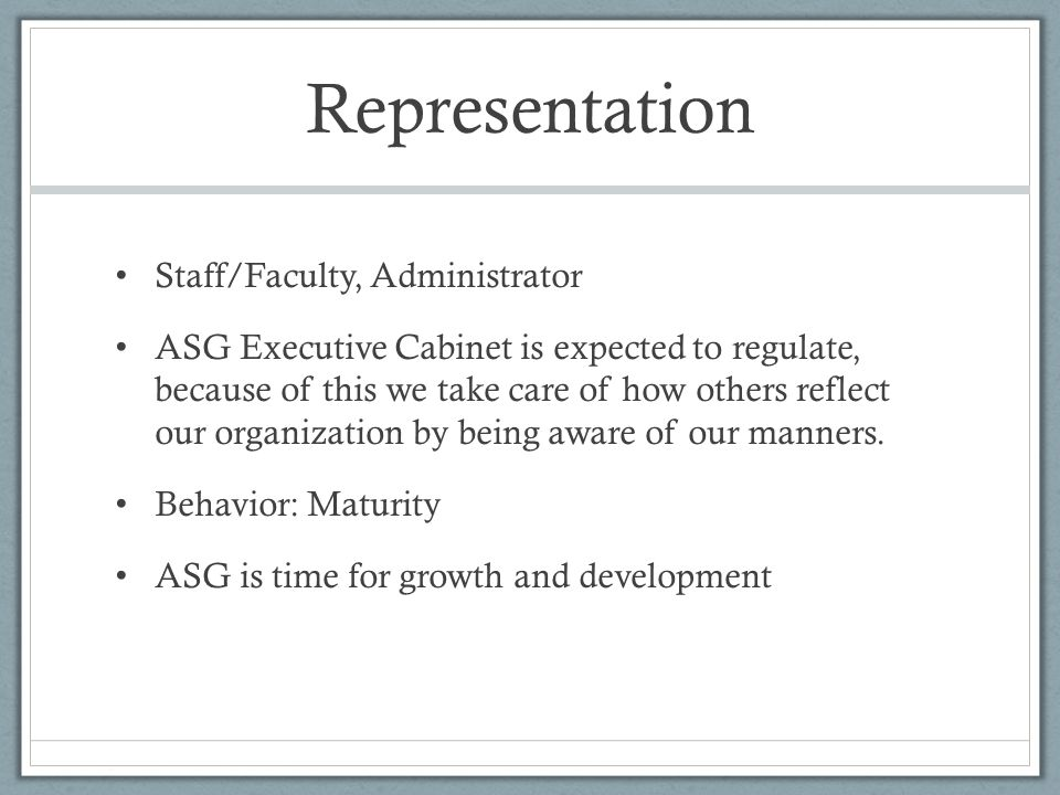 Representation Staff/Faculty, Administrator