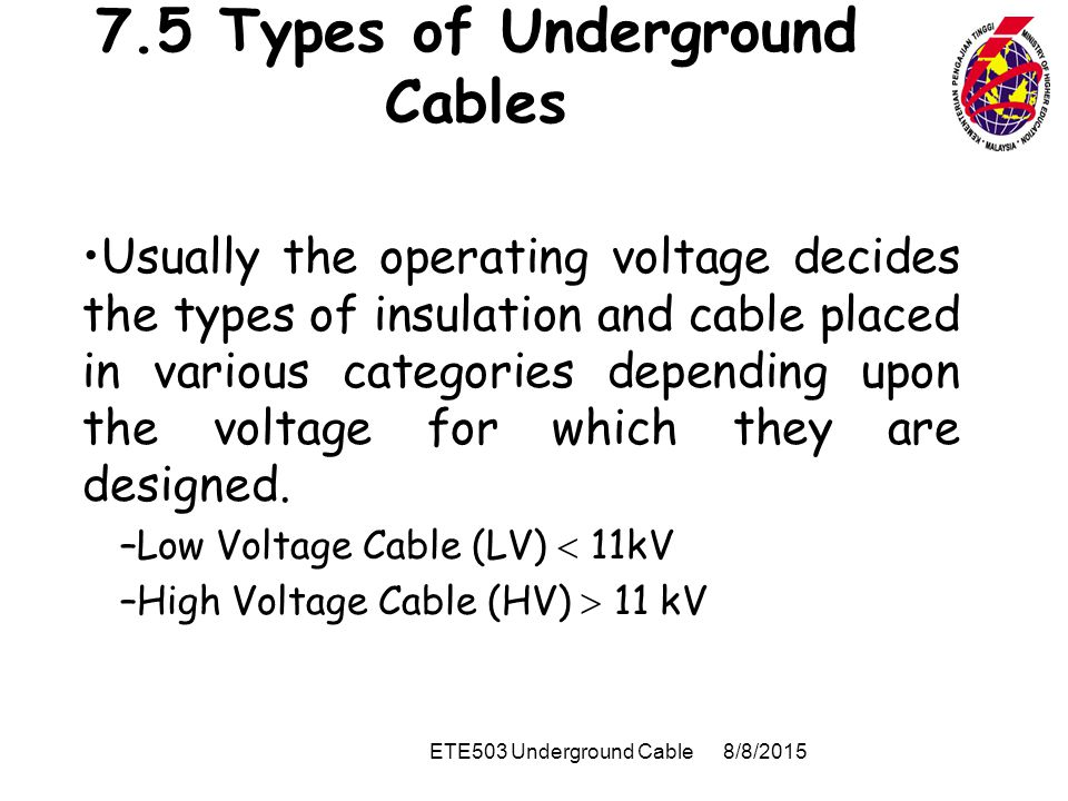 Types Of High Voltage Cables : Det underground cables ppt video online download