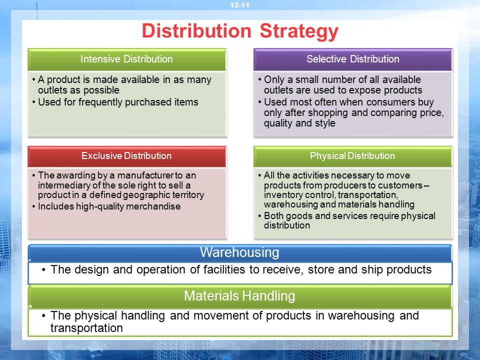 distribution strategy In contrast, in a pull strategy, the marketer promotes the product directly to consumers hoping that they will pressure retailers to stock the product or brand, thereby pulling it through the distribution channel.