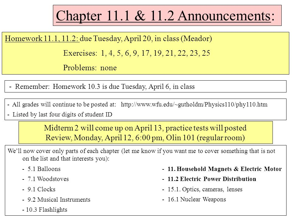 Chapter 11 1 & 11 2 Announcements: