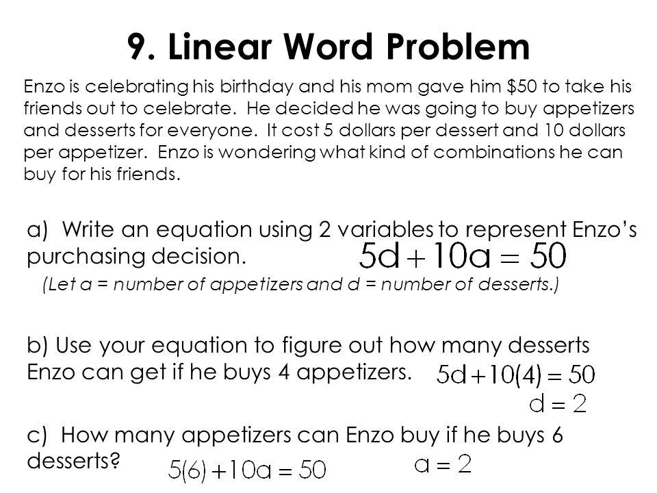 9. Linear Word Problem